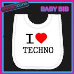 I LOVE HEART TECHNO WHITE BABY BIB EMBROIDERED